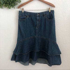 Lauren Ralph Lauren Ruffle Denim Skirt